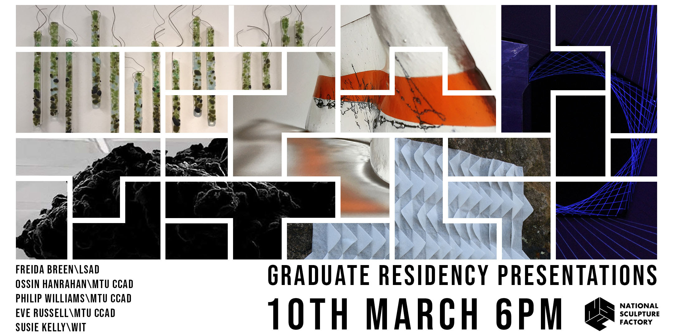 Graduate Residency Presentations 2021 - A collage of multiple artworks including colourful abstract glass objects, triangular white folded paper pattern, a dark storm cloud and dark blue geometric laser pattern National Sculpture Factory Graduate Residency Presentations 10th March 6PM